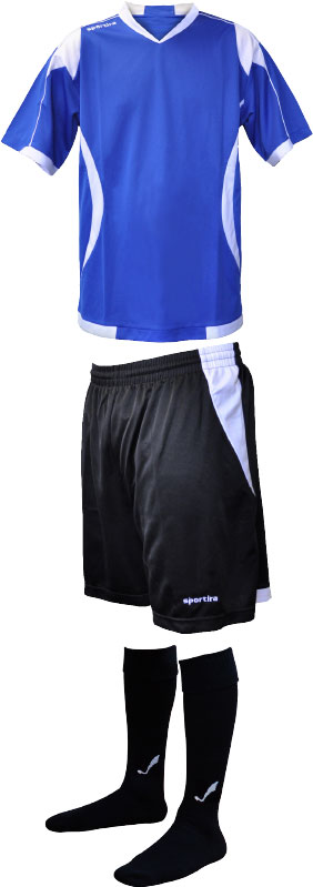Sportira Encore kit with jersey, shorts, and socks